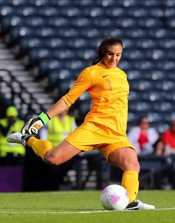 Hope Solo of the USA in action during