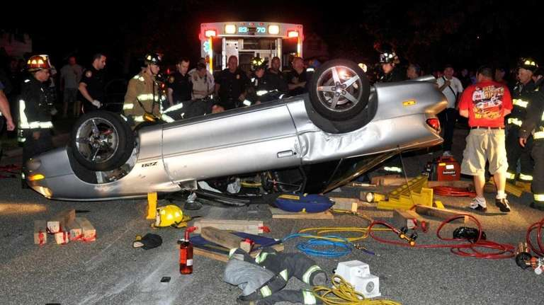 Four teenagers were injured after their Chevy Camaro