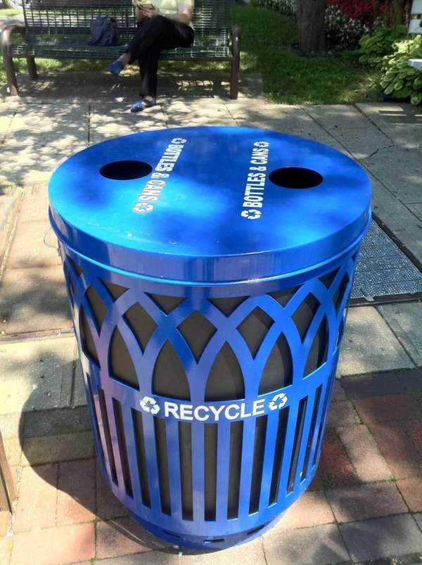 One of six new recycling containers placed around