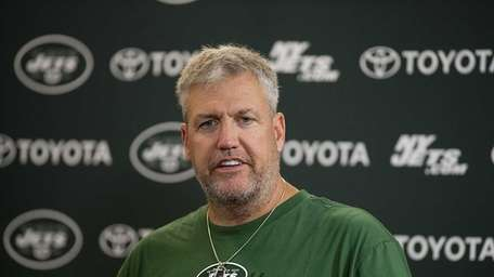 Rex Ryan at a press conference while at
