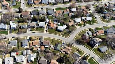 An aerial view of homes in Nassau County.