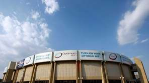 An exterior view of the Nassau Coliseum is