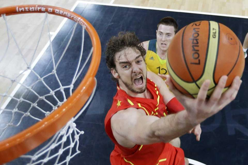 Spain's Pau Gasol lays up a shot as
