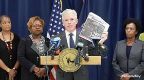 Suffolk County Executive Steve Bellone spoke at a