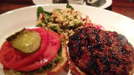 Customized vegetable burger at Houston's, Roosevelt Field
