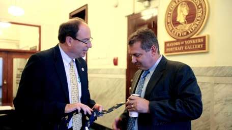 City Council President Chuck Lesnick speaks with Yonkers
