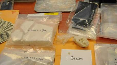 Cocaine on display inside the fifth floor library