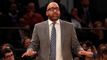 Knicks head coach David Fizdale looks on in