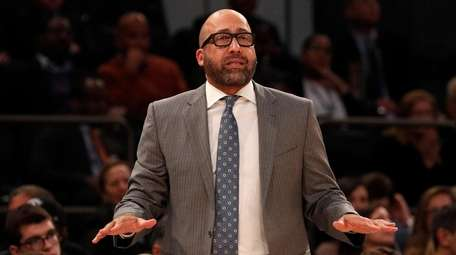 Knicks head coach David Fizdale looks on in