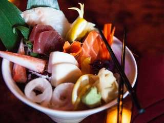 Chirashi, assorted fish served atop sushi rice, at
