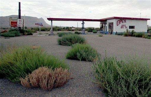 A gas station sits empty in Woodside, Utah,
