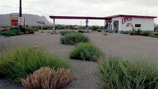 A gas station sits empty in Woodside, Utah,