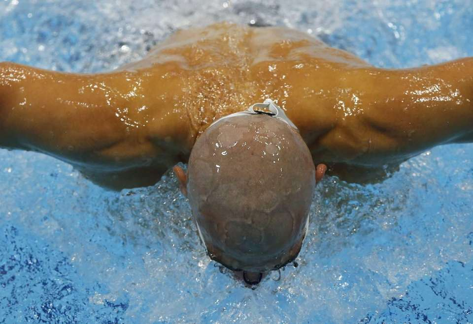Hungary's Laszlo Cseh swims in a heat of