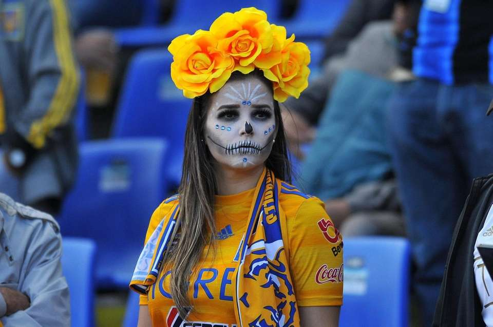A fan of Tigres with her face painted