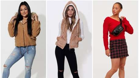 From left: Cuddly corduroy fleece-lined jacket with faux