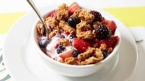 The yogurt parfait is made with Greek yogurt,