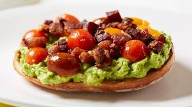 """Meaty"" avocado toast is topped with crumbled bacon"