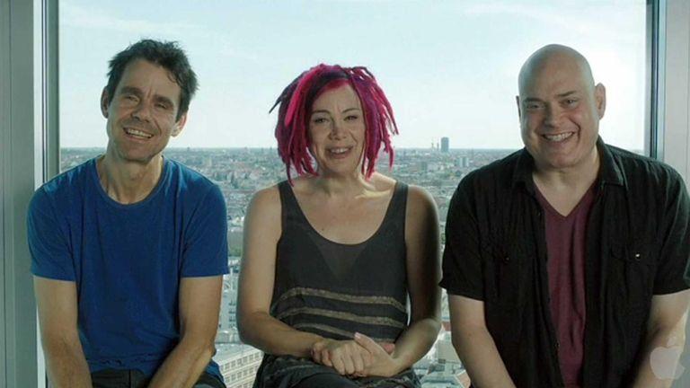 Pictured from left, German filmmaker Tom Tykwer, Lana