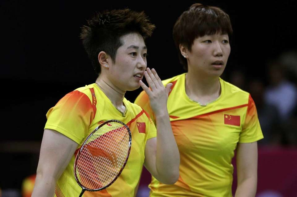 Four doubles badminton teams from China, South Korea