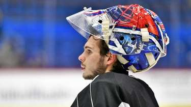Hartford Wolf Pack goaltender Igor Shesterkin appears during