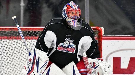 Hartford Wolf Pack goaltender Igor Shesterkin during practice