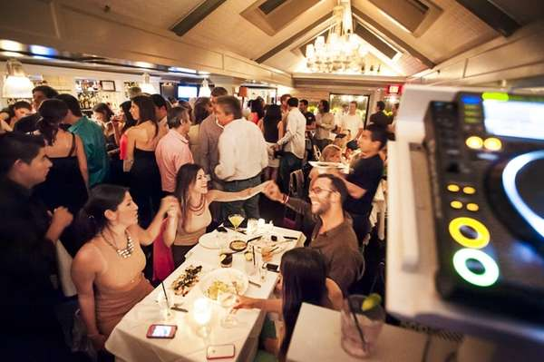 Diners sing along with the DJ at Beaumarchais