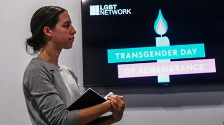Amy Pollicino (They/Them) speaks during the Transgender Day