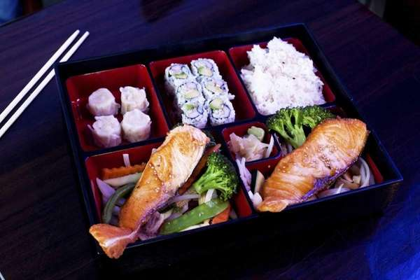 The salmon bento box at Onsen Sushi in