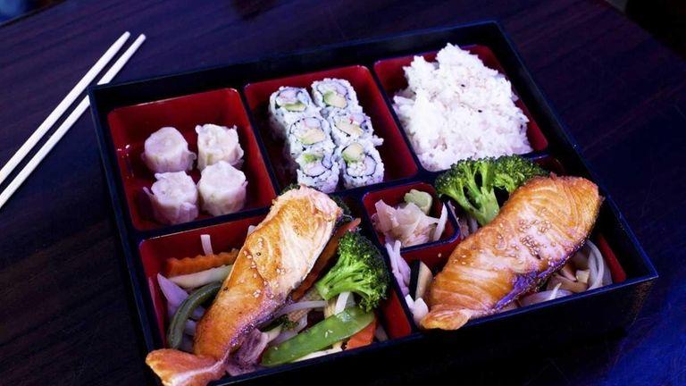 The salmon bento box at Onsen Sushi in