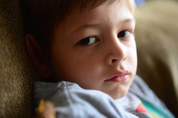 Steven Heckman, 6, seen here at his home