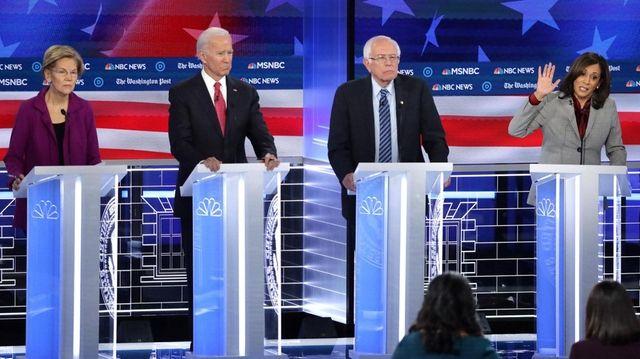 Elizabeth Warren, Joe Biden, Bernie Sanders and Kamala