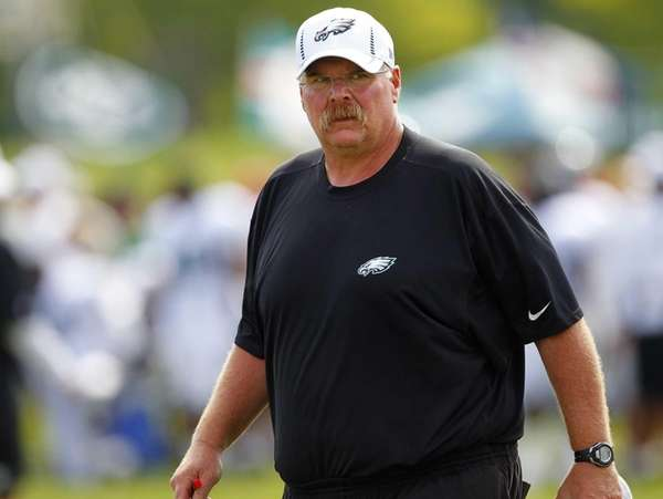 Philadelphia Eagles head coach Andy Reid watches a