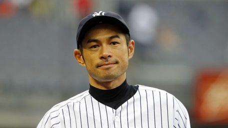 Ichiro Suzuki looks on after a game against