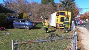 A crash involving a school minibus Thursday forced