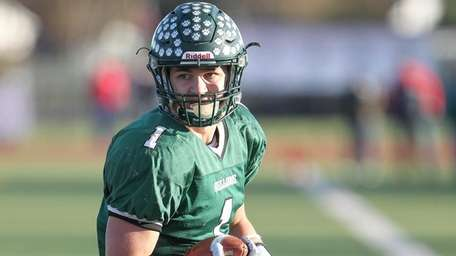 Lindenhurst's Jeremy Ruckert stops in the end zone