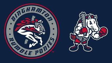 Logos for the Binghamton Rumble Ponies, the identity