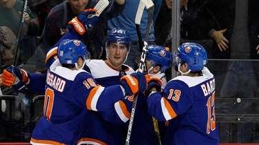 Brock Nelson #29 of the Islanders celebrates his