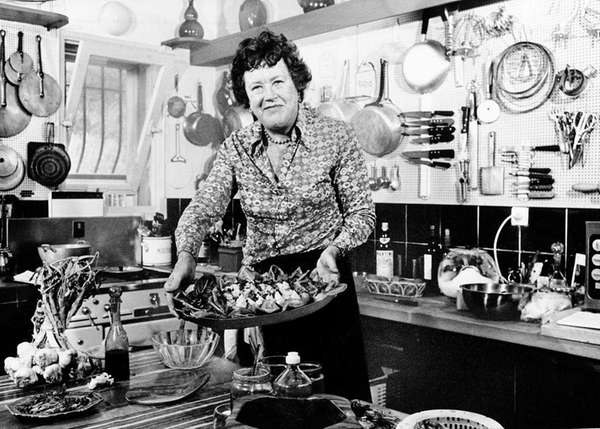 American television chef Julia Child shows a salade
