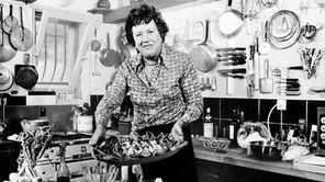 American television chef Julia Child shows a salade