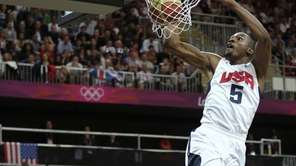 Team USA's Kevin Durant dunks during a game