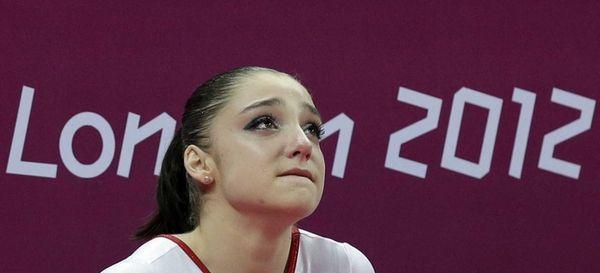Russian gymnast Aliya Mustafina after her team's final