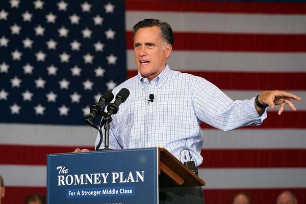 Mitt Romney speaks during a campaign event with