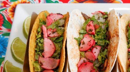 Baby portobello, shiitake, chanterelle and button mushroom tacos