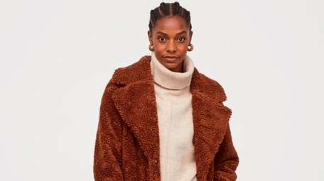 Warm up with a fuzzy, knee-length coat from