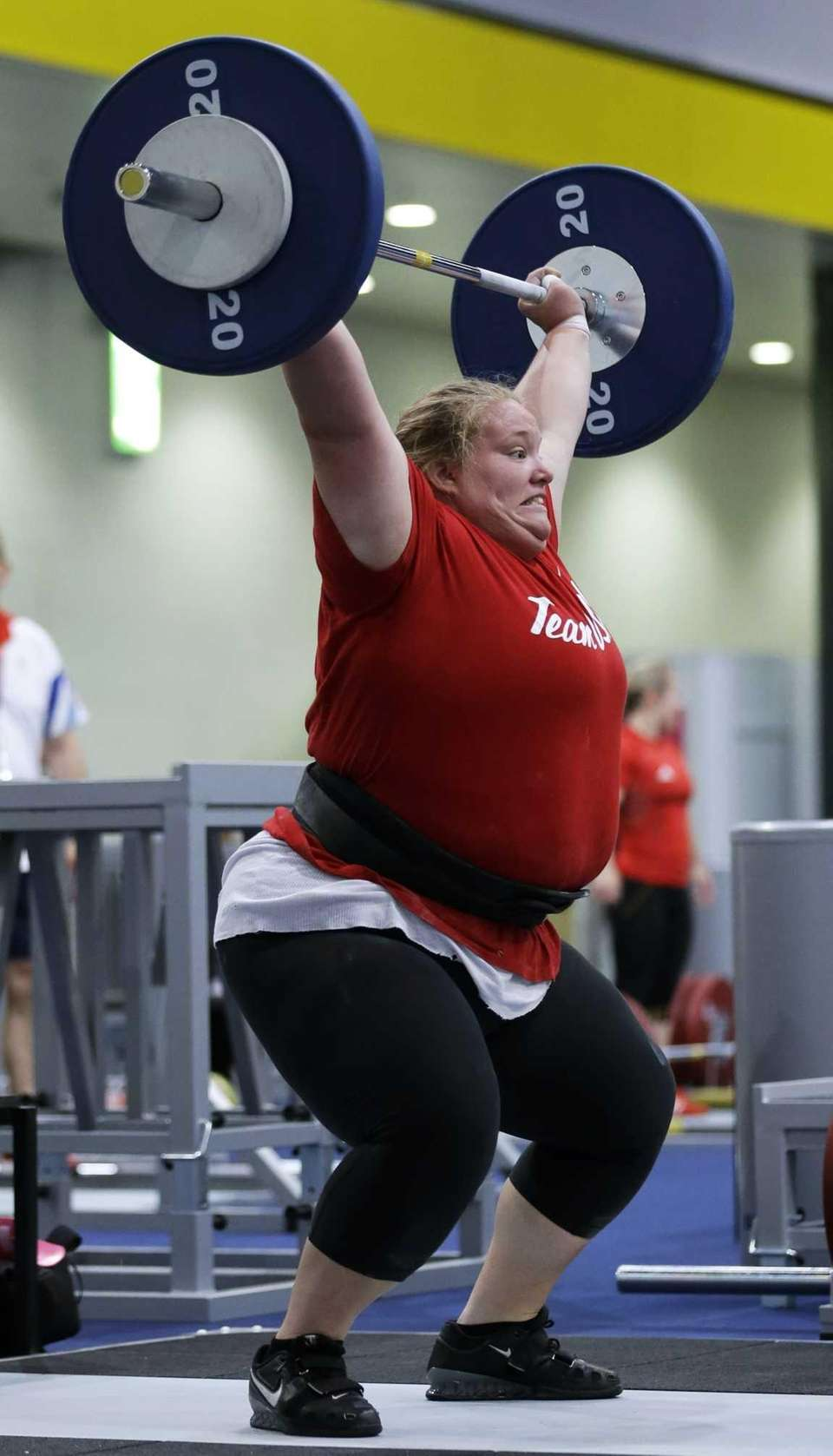 Weight-lifter Holley Mangold, of the United States, trains