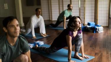 A yoga class at The Art of Living