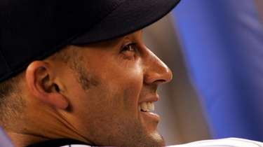 Derek Jeter in the Yankees dugout as at