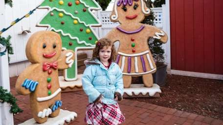Grace Clark, 3, of Wantagh, plays among the