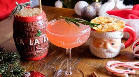 Specialty Christmas-themed cocktails at Miracle, a pop-up bar