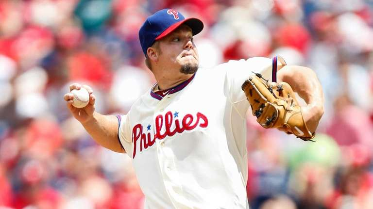 Starting pitcher Joe Blanton throws a pitch during